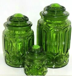 Vintage Green Moon And Star Canister Set Of 3 Le Smith Retro Mcm Kitchen