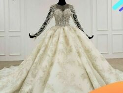 Wedding Dress Luxury Gowns Long Sleeve Illusion O Neck Lace Beaded Appliques New