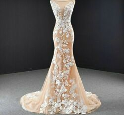 Evening Party Dress Gowns Skinny Tight Fit Champagne White Pattern Lace Backless