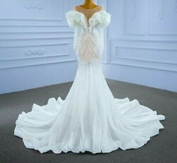Sexy Gowns Wedding Dress V Neck Transparent Lace Puff Sleeves Frill Pearl Beaded