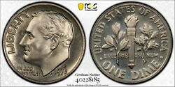 1973 Roosevelt Dime Certified Grade Pr67, From San Francisico With Proof Finish