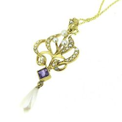 14k Yellow Gold Antique Seeds Pearls Amethyst Necklace 16''