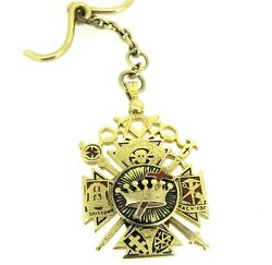14k Gold Charity Lodge 190 F And Am Hutchinson Comdy 32 Fob Horse Themed Masonic
