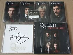 Queen Greatest Hits Signed Cd Album, 4 X Cassette Set And Badge Ltd 1000 Sold Out