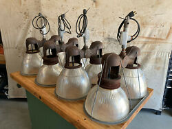 1930s Double Holophane Cast Iron Industrial Lights Factory Glass Shades Rewired