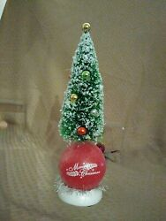 Vintage Decorated 8 Flocked Bottle Brush Christmas Tree On Lighted Ball Stand
