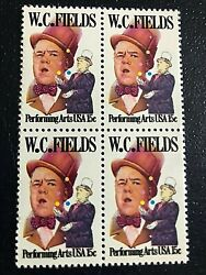 Us Stamp 1803, 15c W,c, Fields - Comedian, Mnh Block Of 4 Free Shipping