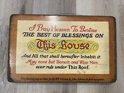 Vintage Yorkraft Wooden Sign - Blessings On This House By John Adams