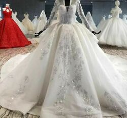 White Wedding Gown Dress V Neck Applique Sequins With Train Long Sleeve Lace Top