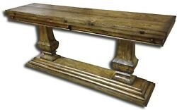 Console Table Italian Rustic Tuscan Distressed Fold Out Top Chunky Pillar