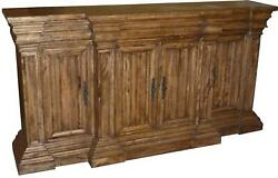 Sideboard Cathedral Reclaimed Wood Linen Fold 4 Doors Heavy Cornice Mo
