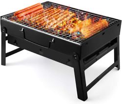 Barbecue Grill Portable Folding Charcoal Barbecue Desk Tabletop Outdoor Steel