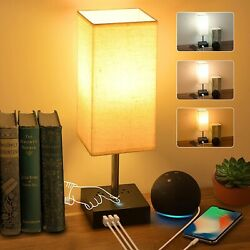 3-color Touch Control Bedside Lamp With 3 Usb Port And Two 3-prong Outlet Table