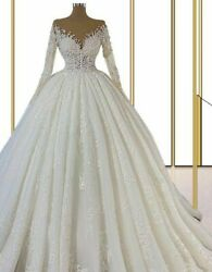 Ball Gown Bride Dress Princess Pearls Appliques Long Sleeves Illusion V Neck New