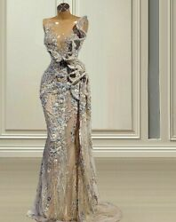 Formal Evening Dresses Gowns Kaftans Wear Beaded Crystal Sleeveless Illusion New
