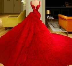 Mermaid Party Dress Gowns Red Sleeveless Crystal Beads Illusion Empire Polyester