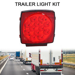 Car Square Tail Light License Lamp Led Bulb Submersible Trailer Red Waterproof