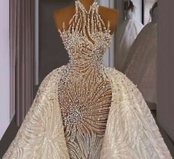 Bridal Gowns Wedding Dresses Handmade Sewing Beaded Crystals Illusion Sleeveless