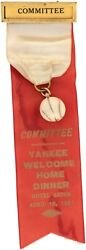 1961 New York Yankees Committee Welcome Home Dinner Ribbon Pin Maris And Mantle