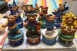 8 Claire Vintage Bears 1999 Small Hinged Trinket Boxes Used