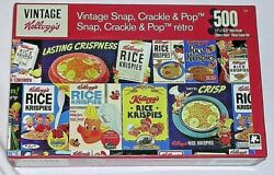 New 500 Pc Puzzle Kellogg's Rice Krispies Vintage Snap Crackle Pop Cereal Boxes