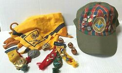 Vintage Lot Of Boy And Cub Scout Webelos Bear Wolf Pinsmerit Badgeshat And More