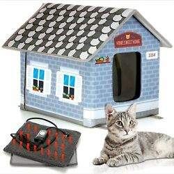 PETYELLA Heated cat Houses for Outdoor Cats in Winter Heated Outdoor cat House