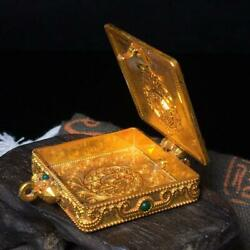 Antique 1940s Handmade Gawu Box Recovered Tibet Gold Plated Copper Crafted Gift