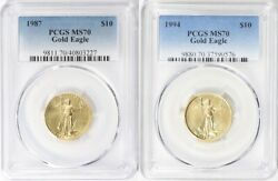 1987 And 1994 10 Gold Eagle Pcgs Ms70 Low Pop 34 And 63 Coins Low Mintage