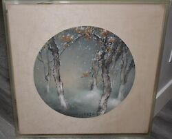 Original Henry Wo Yue-kee 24x24 Watercolor With Frame Circa 1970's