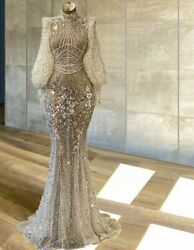Evening Dresses Formal Party Gowns Beaded Crystal Sparkly Puffy Sleeve Tulle New