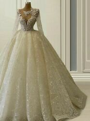 Gown Wedding Bride Dress Luxury Scoop Appliques Crystal Beading Princess Lace Up