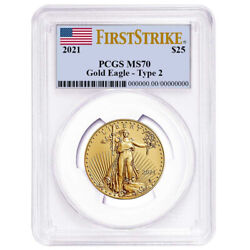 2021 25 Type 2 American Gold Eagle 1/2 Oz Pcgs Ms70 Fs Flag Label