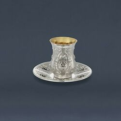 Engraved Dor Set Cup And Plate Sterling Silver 925 Traditional Handmade Judaica