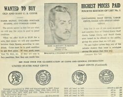 1935 Springfield Romanoand039s Rare Coin Shop 6 Pg Brochure Prices Paid Massachusetts