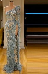 Blue Evening Dresses Gowns High Slit Appliques Feathers One Shoulder Long Sleeve