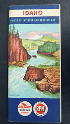 1951 Idaho Road Map Booklet Chevron Oil Gas Cabinet Gorge Cover