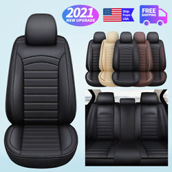 Car Accessories Seat Cover Front Rear Pu Leather Full Set Interior Decor Cushion