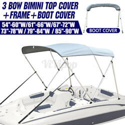 Boat Bimini Top 3 Bow Canopy Cover 54-90 Width 72 W Rear Poles And Storage