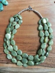3 Strand Serpentine And Sterling Silver Necklace 19 Santo Domingo