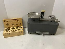 Torsion Balance Scale With Brass Weights Vintage