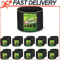 20-pack 1 Gallon Grow Bags Aeration Fabric Pots Thickened Nonwoven Fabric Pots