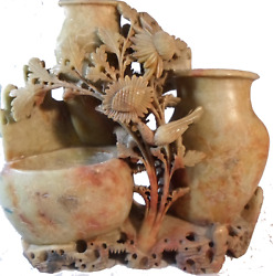 Antique 9 Carved Soapstone Chinese Incised Brush Pot Vase Bird Flowers 3 Wells