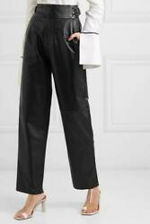 Sea By New York Black Indiana Leather Straight-leg Pants
