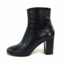 Short Boots Gold Fittings Coco Mark Black Razor Previously Owned No.7589
