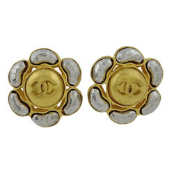 Coco Mark Flower Motif Earring Cc Gp Gold Women And039s Previously No.7991