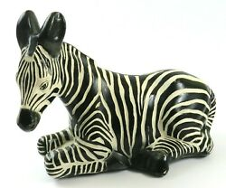 Large Vintage Chalkware Zebra Laying Down Statue Figurine 11andrdquo Tall X 15 Wide