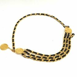 Chain Belt Vintage Ab Rank Coin Coco Mark Leather Gold No.8694