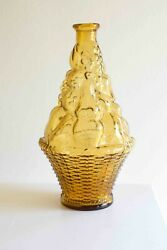 Empoli Amber Glass Genie Decanter Fruit Basket Bottle Made In Italy W/o Stopper