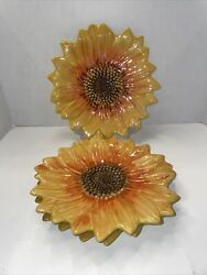 """Maxcera Yellow Sunflower 3d Decor Serving Dinner Plate 10"""" Never Used Set Of 3"""